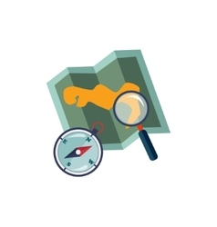 Map Compass And Magnifying Glass vector