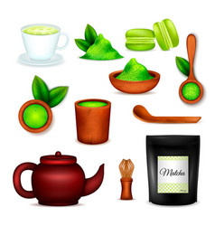 Matcha tea realistic set vector