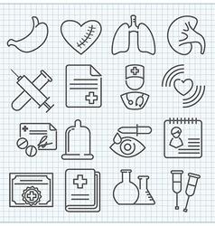 medicine theme icons set vector image