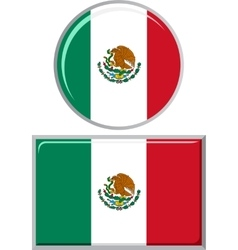 Mexican round and square icon flag vector
