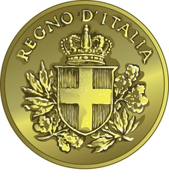 money gold italian coin twenty Centesimo vector image