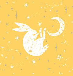 moon bunny seamless pattern with stars vector image