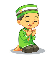 moslem boy praying dua vector image
