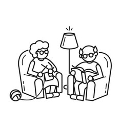 Old people at armchair concept background outline vector