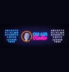on air radio neon logo on air radio neon vector image