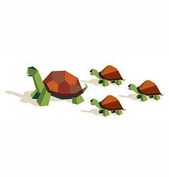 Origami tortoise family vector