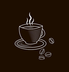 Outline icon cup coffee and beans vector