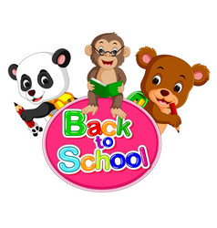 Panda monkey and a bear are going back to school vector