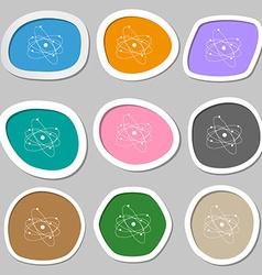 physics atom big bang symbols Multicolored paper vector image