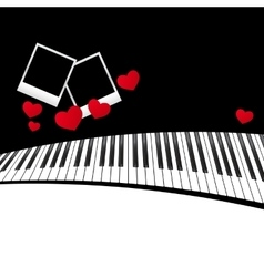 Piano template with hearts vector