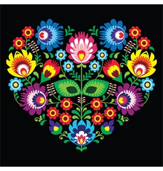 Polish Slavic folk art art heart with flowers vector