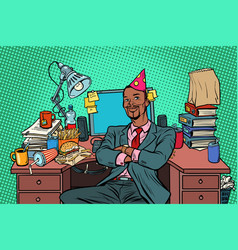 pop art african businessman birthday working vector image