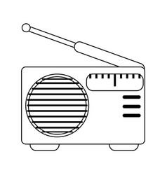 radio vintage music device in black and white vector image