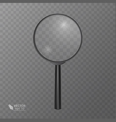 Realistic magnifying glass in black on transparent vector