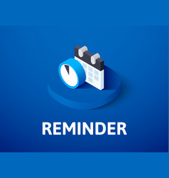 reminder isometric icon isolated on color vector image