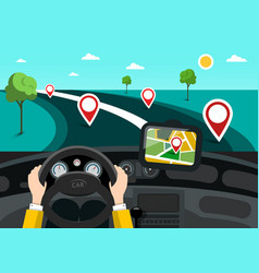 road map with hands on steering wheel and pins on vector image