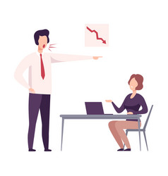 rude boss yelling to female office worker vector image