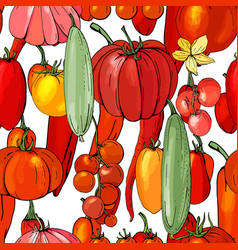 Seamless pattern with fresh vegetables vector