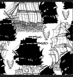 Seamless pattern with old ships on white vector