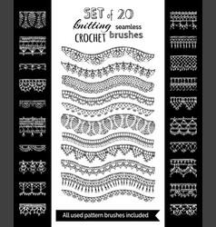 Set 20 crochet patterns for borders edgings vector