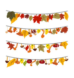 Set five garlands with autumn leaves mushrooms vector