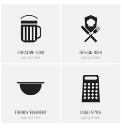 Set of 4 editable cooking icons includes symbols vector