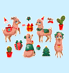 set stickers with new year llama vicuna animal vector image