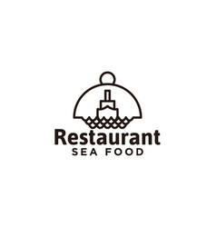 ship and cover plate restaurant logo designs vector image
