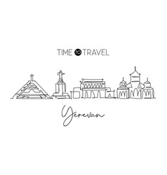 Single continuous line drawing yerevan city vector