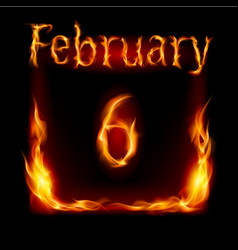 Sixth february in calendar of fire icon on black vector