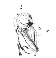 Sketch happiness carefree joyful woman in hat vector
