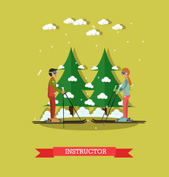 Ski instructor in flat style vector