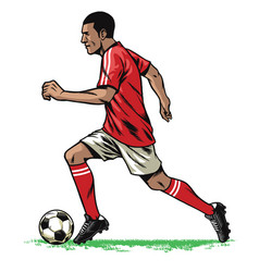 Soccer player retro running pose vector