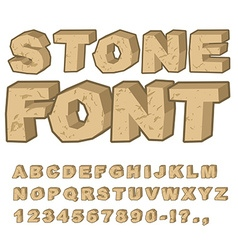 Stone font set of letters from stones alphabet and vector