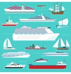 Super set of water ships carriage maritime boat vector image