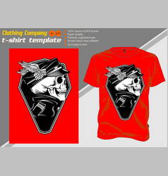 t shirt template with skull captainhand drawing vector image