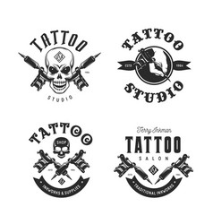 Tattoo studio emblems set vintage vector