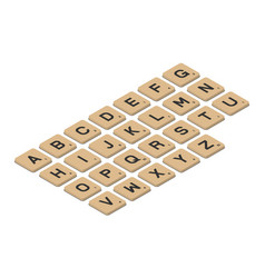 Tile alphabet for puzzle word game in isometric vector