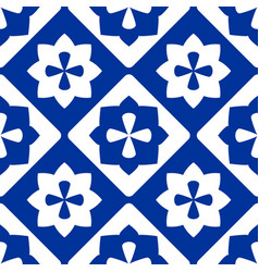 tile indigo blue and white decorative floor tiles vector image