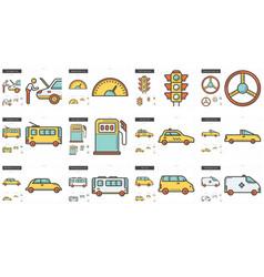 Transportation line icon set vector