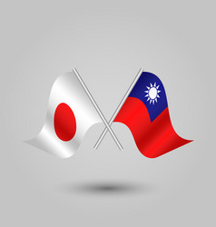 Two crossed japanese and taiwanese flags vector