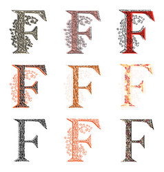 Various combination fishnet letter f vector