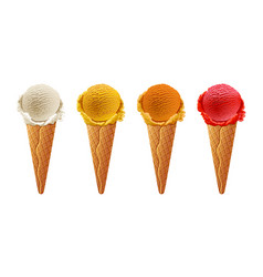 various ice-cream scoops on white background with vector image