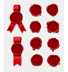 Wax stamps transparent collection vector