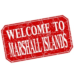Welcome to Marshall Islands red square grunge vector