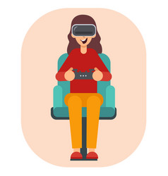 Woman with gogle glasses young girl in virtual vector