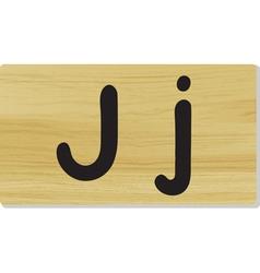 wooden letter J vector image