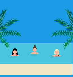 young women girlfriends swim in sea on the vector image