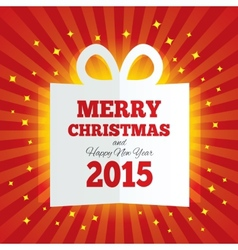 Christmas gift box cut the paper New year 2015 vector image vector image