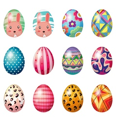 Easter eggs with colorful designs vector image